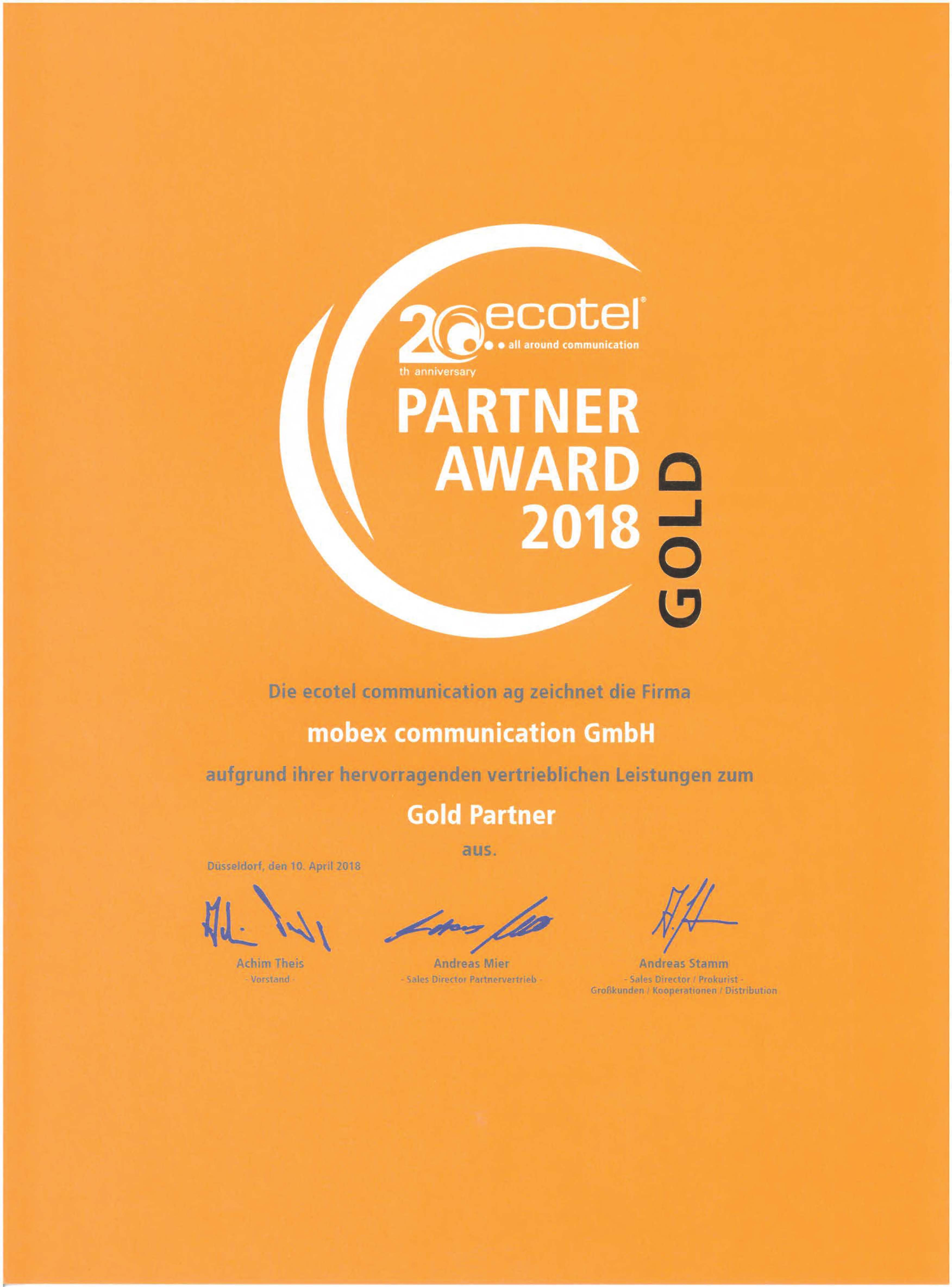 Ecotel Partner Gold Award 2018