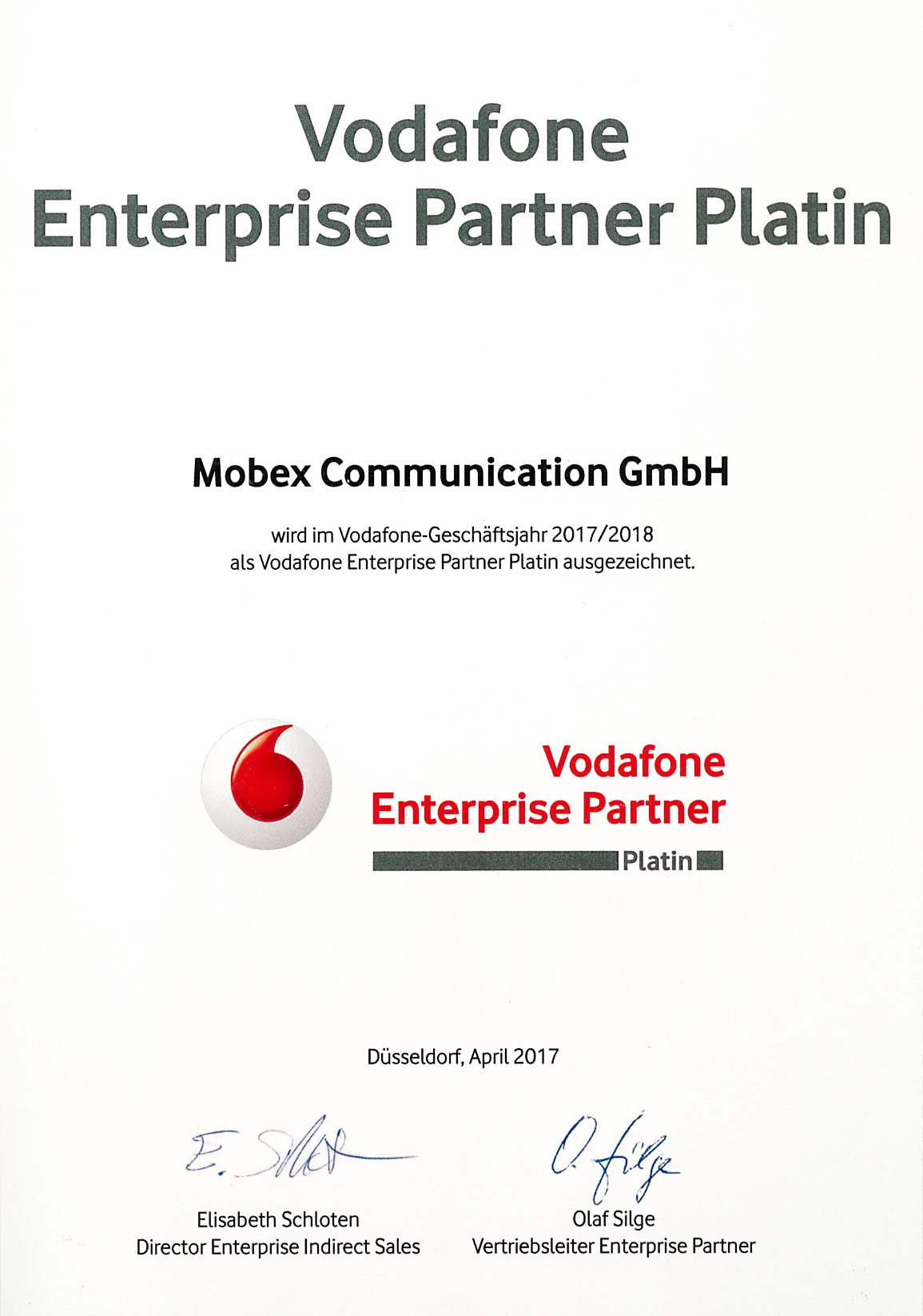 Vodafone Enterprise Partner 2017/2018